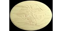 Urne en bois d'acajou avec médaillon en bois d'érable