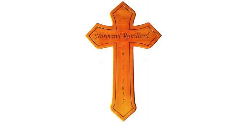 Croix en bois de cèdre naturel vernis