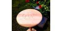 Table ronde en bois d'érable et merisier naturel vernis